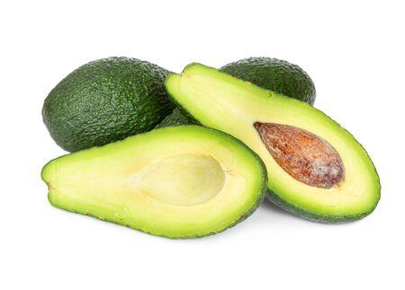 Fresh ripe avocado fruit isolated on white background.