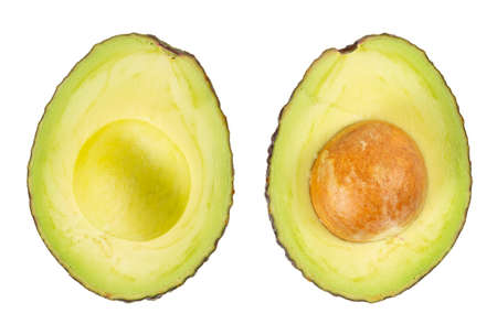 Two slices of avocado isolated on the white background. Top view. Zdjęcie Seryjne