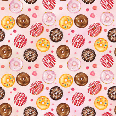 Seamless pattern with watercolor multicolored donuts on pink background. Hand drawn watercolor illustration.