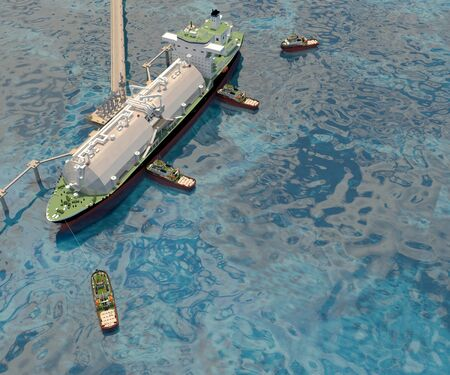 Berthing of the Tanker Ship to the Berth with the help of Tugs boat. 3d rendering