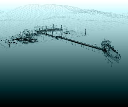 Scheme of the Seaport with the Tanker ship, Berth, Overpass and the Shore platform. 3D rendering.