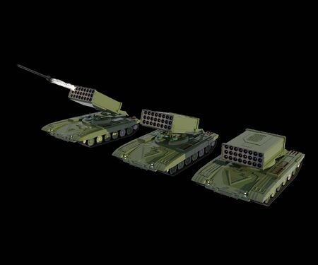 Heavy flamethrower systems based on the tank. Isolate on black. 3D rendering.
