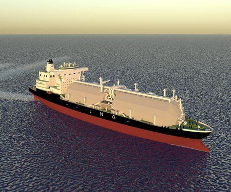 LNG tanker reefer type. 3D rendering.