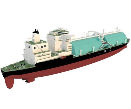 LNG tanker reefer type. Isolate. 3D rendering.