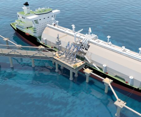 Berth with Tanker Ship and Loading arms. 3D rendering. Stock Photo
