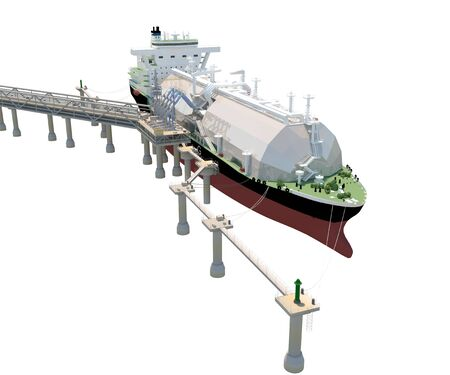Berth with Tanker Ship and Loading arms. Isolate on white. 3D rendering.