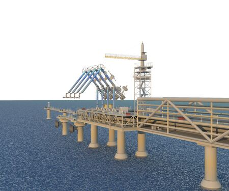 Berth with loading arms. Isolate on white with water. 3D rendering