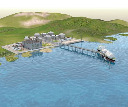 Sea port with the Tanker ship and the Shore platform. 3D rendering.