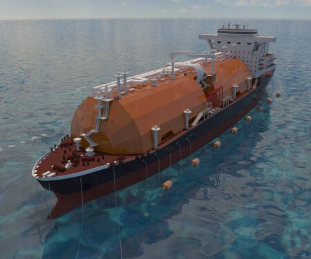 Floating gas storage in anchor stop. 3d-rendering.