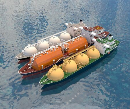 Floating gas storage in anchor stop with the Tanker ships (spherical type). 3d-rendering. Stock Photo