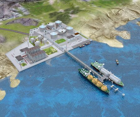 Seaport with the two Tanker ships, Tug boats, Berths, Overpass and the Shore platform. 3d-rendering Banque d'images