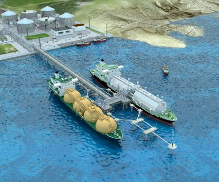 Seaport with the two Tanker ships, Tug boats, Berths, Overpass and the Shore platform. 3d-rendering