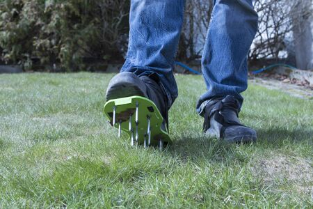 Garden aerator with spikes on the feets on a green lawn background.