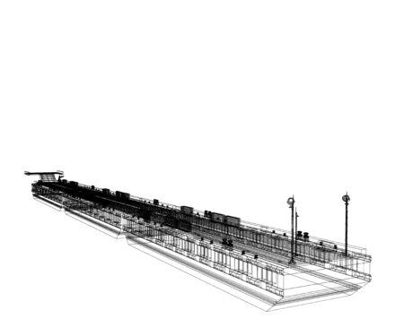 Scheme of the Ponton. Isolate on white. 3D rendering.