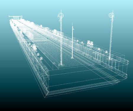 Scheme of the Ponton on a gradient background. 3D rendering. 版權商用圖片