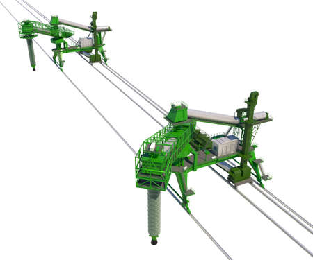 Dockside cargo cranes for bulk cargo with rails. Isolate on white. 3d-rendering