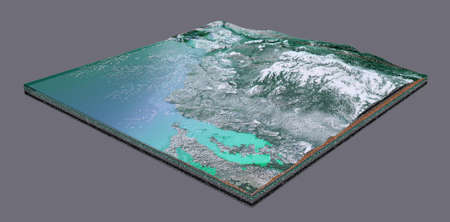 A piece of winter terrain with water, haze and snow with a green grid. 3d rendering. Standard-Bild