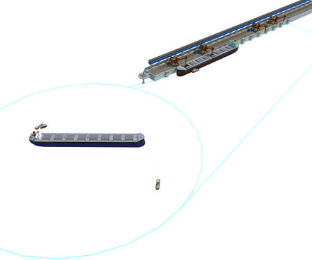 Schematic of the u-turn circle in the port with bulk carrier ship and tug boats. 3d-rendering