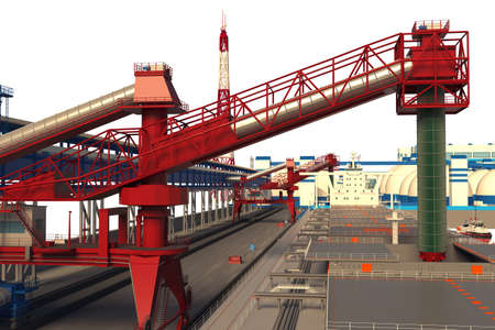 Loading the bulk carrier at the mineral fertilizers terminal. Isolated on white. 3D rendering.