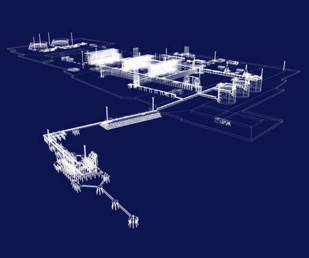 The territory of the LNG plant with a remote part of the berth for two gas carriers and a port fleet. White lines on a dark blue background. 3d-rendering