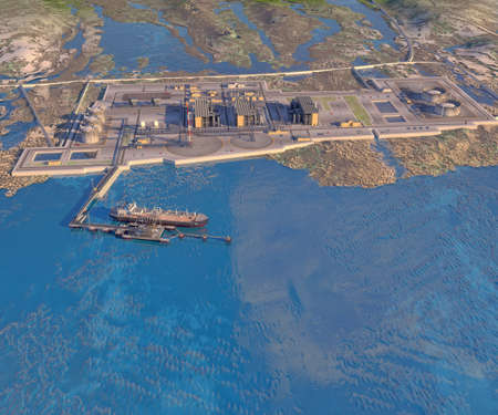 Sea port with gas carrier, mooring outrigger, coastal zone, LNG plant and oil terminal. 3d-rendering