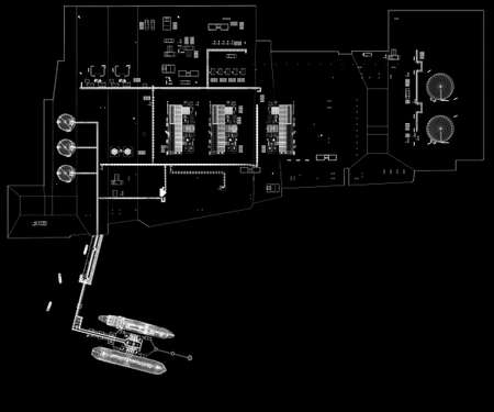 Sea port scheme with two gas carriers, mooring outrigger, coastal zone, LNG plant, oil terminal, berth of auxiliary vessel. Isolated on black. 3d-rendering