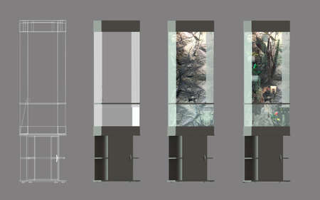 A set of images of step-by-step creation of a vertical aquarium-paludarium. Gray background. 3d rendering. Stock Photo
