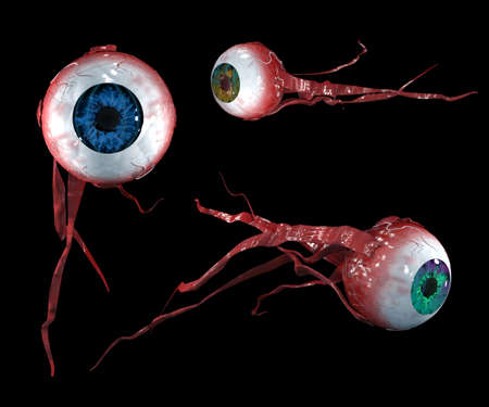 Three flying eyes with different colors of the iris with muscles. Isolated on black. 3d-rendering
