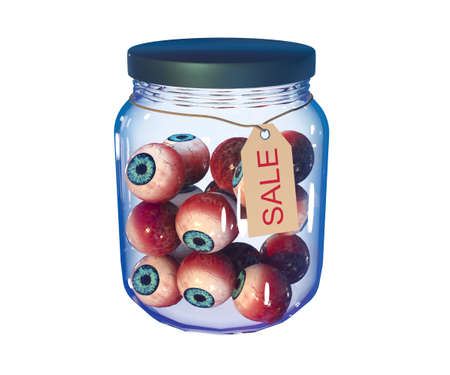 Eyes in a closed jar with the inscription sale. Isolated on white. 3d-rendering