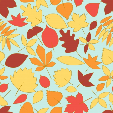 Colorful autumn leaves seamless pattern Vector