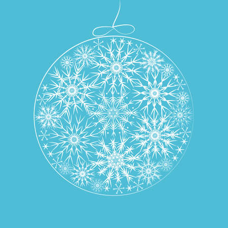 glitter ball: Christmas ball with snowflakes, vector