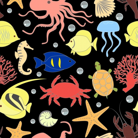 Colorful sea animals seamless pattern Vector