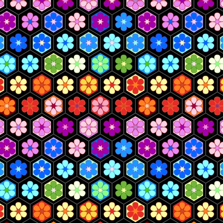 hex: Colorful crochet flowers seamless pattern Illustration