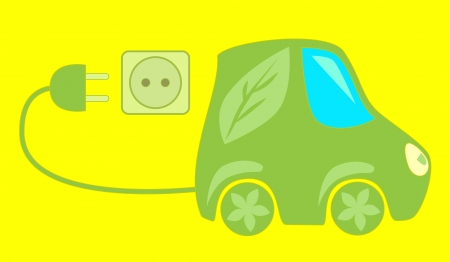Green eco friendly electric car Stock Vector - 14750116