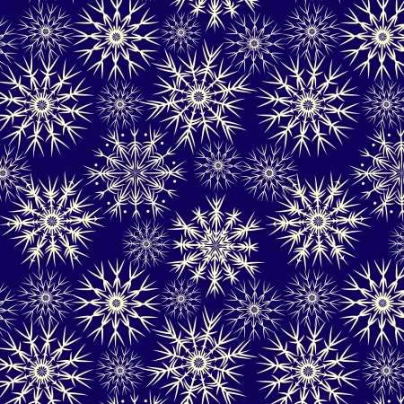 Snowflakes on navy blue seamless pattern,  Vector