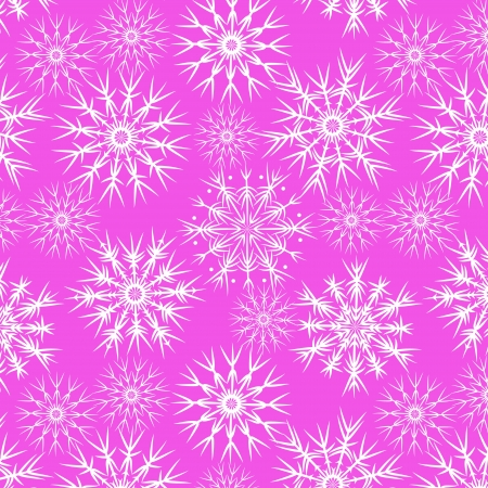 Snowflakes on pink seamless pattern,  Vector