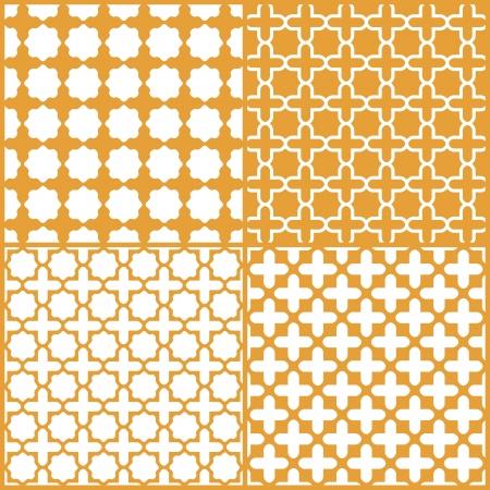 Marroquí enrejado conjunto de patrones sin fisuras, Ilustración de vector