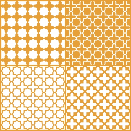 Moroccan lattice seamless pattern set,