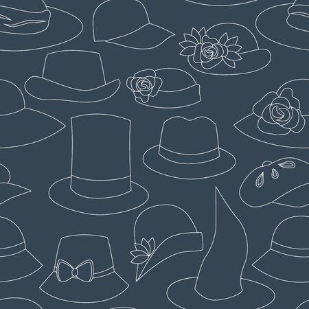 flirty: Hats on navy blue seamless pattern,  Illustration