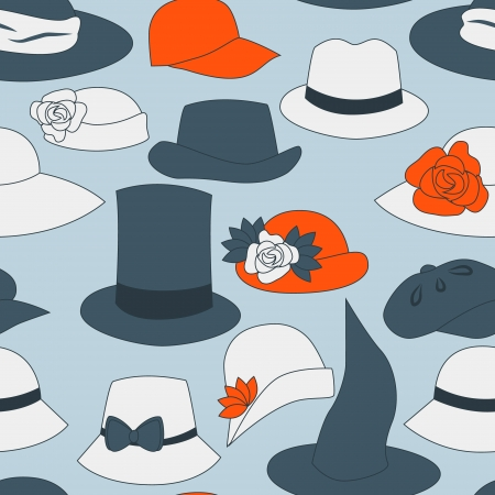 Different hats seamless pattern,  Illustration