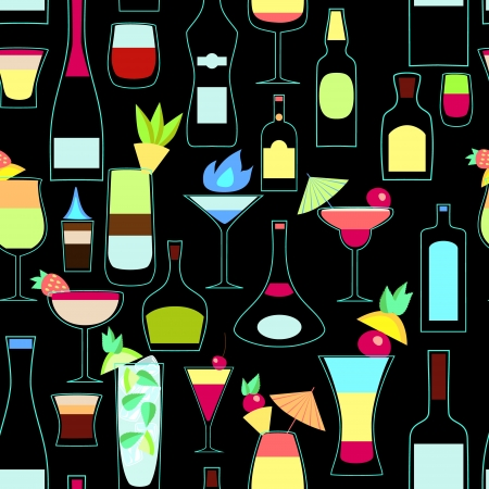 highball: Alcoholic bottles and exotic cocktails seamless pattern,