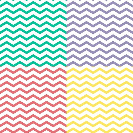 Set of simple zigzag seamless patterns,  Vector