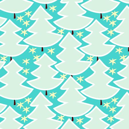 Christmas trees in blue forest seamless pattern, vector Vector