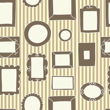 art gallery interior: Frames on the wall seamless pattern, vector