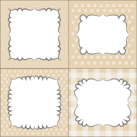 set square: Retro neutral frames templates, vector Illustration