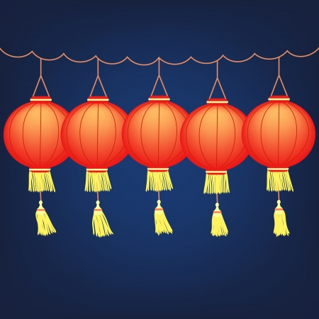 Chinese festive red lanterns, vector illustration