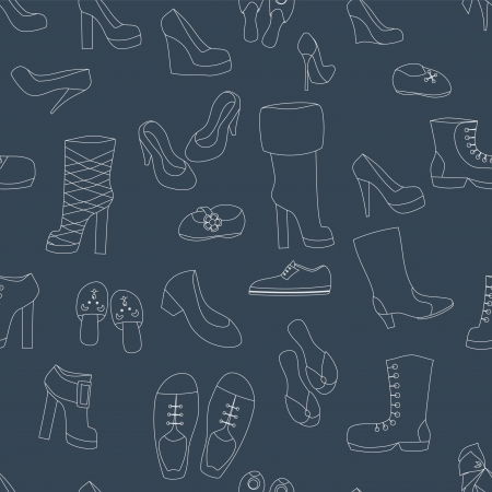Shoes on navy blue seamless background, vector Vector