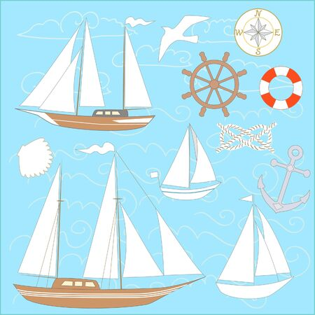 Boats marine collection, vector set Vector