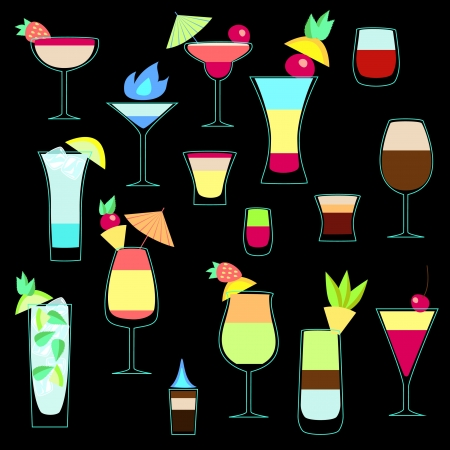 Exotic cocktails collection, vector set Illustration