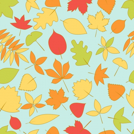 Autumn leaves seamless background, vector